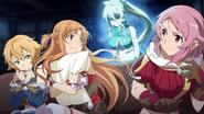 Leafa scaring Asuna, Lisbeth, and Philia