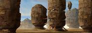 Een nederzetting in een berg op Tatooine