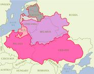 Gebiete weitester Ausdehnung der Res Publica Serenissima 1619 im Frieden von Deulino mit eingezeichneten heutigen Staatsgrenzen und damaligen Rechtsbeziehungen als Grundlage der Erstellung des Adelslexikons
