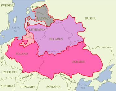 Gebiete weitester Ausdehnung der Res Publica Serenissima 1619 im Frieden von Deulino mit eingezeichneten heutigen Staatsgrenzen und damaligen Rechtsbeziehungen als Grundlage der Erstellung des Adelslexikons.png