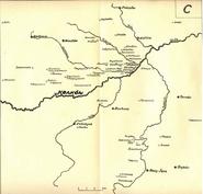 """Verteilung des Adelsgeschlechter siegelnden dem Wappen Prus III im Mittelalter (Karte C)-mgr Jadwigi Chwalibińskiej """"Ród Prusów w wiekach średnich"""""""