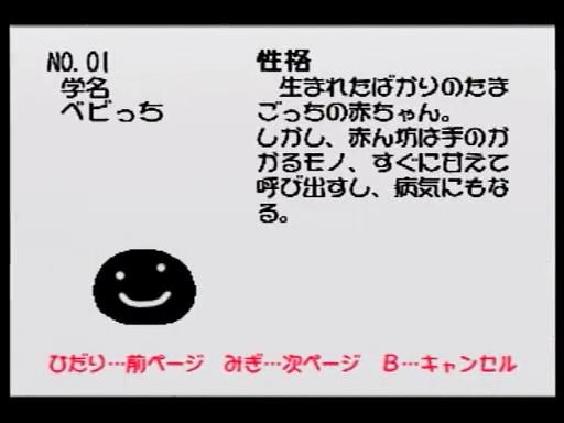 64 de Hakken! Tamagotchi Minna de Tamagotchi World/Character List