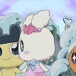 Mametchi and Lovelitchi holding hands.jpg