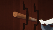 TBEA Pocket barricades the door with a guard axe