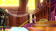 TBEA The camera shows Rapunzel using a pillar to tighten her hair to not move