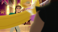 TBEA Rapunzel flies by to give Eugene a frying pan