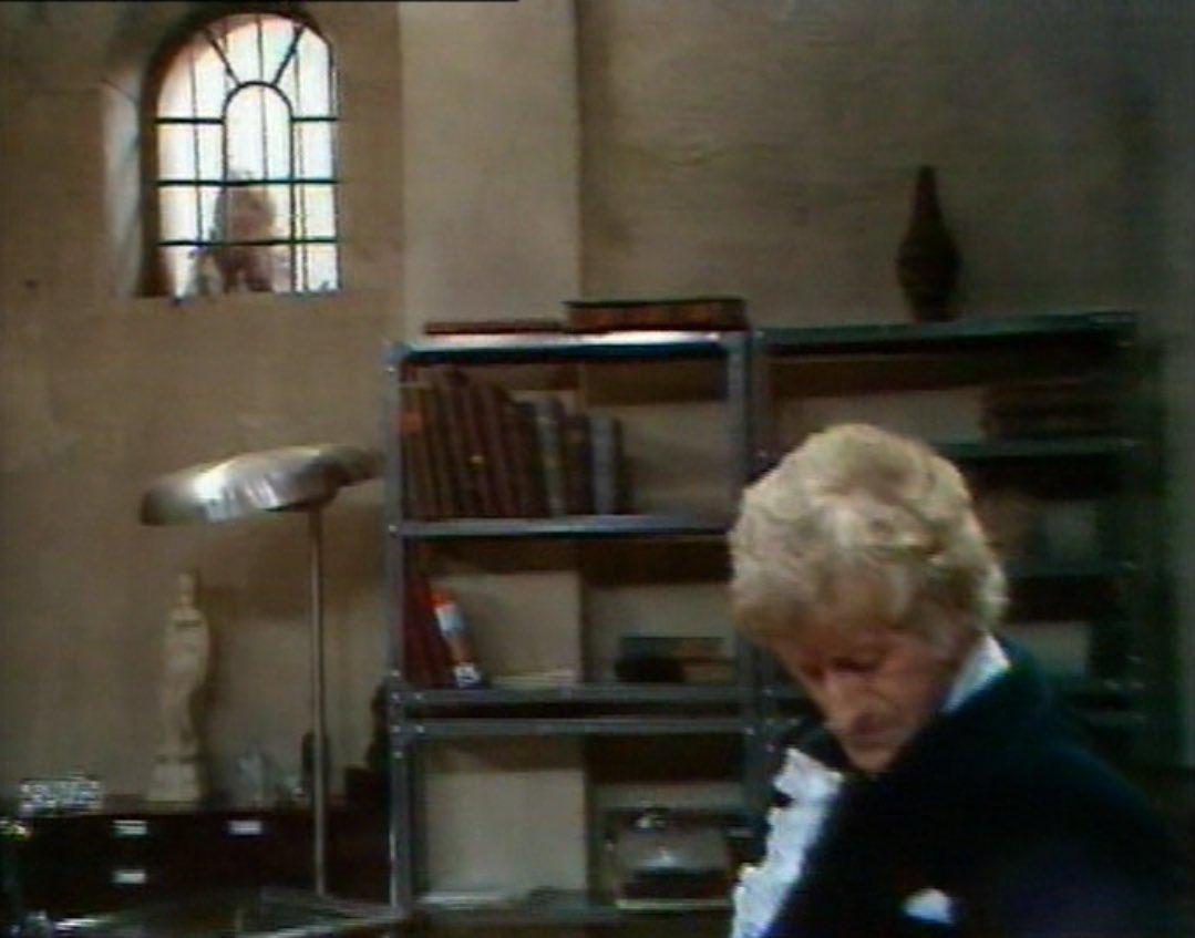 Doctor tied up Jo outside prison window - Sea Devils.jpg