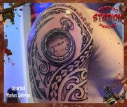 3d tattoo,polynesian, clock, vintage, watch, tattoo, station, studio,artist,cyprus, piercing, black and gray copy