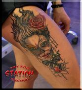 Realistic tattoo-rose skull-portrait lace-pin up image heart-cy-