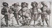 Les Cinq Lansquenets, gravure de Daniel Hopfer 1530