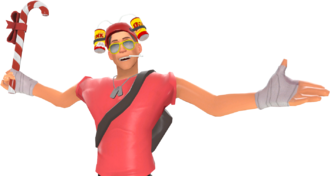 A Scout wearing items