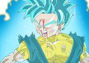Super Saiyan Blue Paata Tahts battle damaged in the heat of the fight Dragon Ball Xenoverse 2 XV2 TFS Team Four Star MasakoX