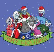 Dumplin Towa Mira Puddin Flanny Cooler Future Frogurt (with a MR. STAKE shirt) Christmas Fan-Art Dragon Ball Xenoverse 1 and 2 XV2 TFS Team Four Star