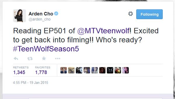 Teen Wolf News Arden Cho first episode tweet.png