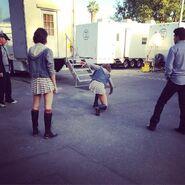 Teen Wolf Season 5 Behind the Scenes caitlin dechelle Shelley Hennig stunt rehearsal