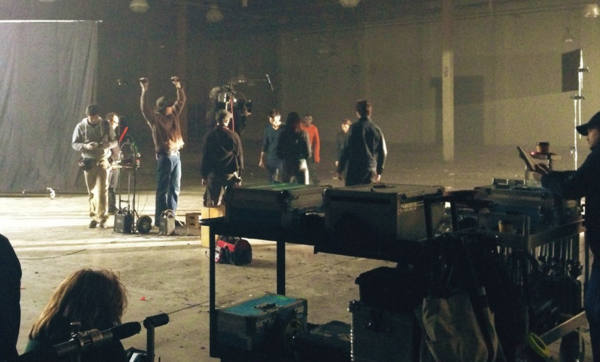Teen Wolf Season 3 Behind the Scenes Tyler Hoechlin hand held camera and boom mic.png