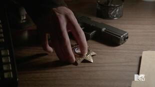 Teen Wolf Season 5 Episode 18 Maid of Gevaudan Parrish turns in his badge