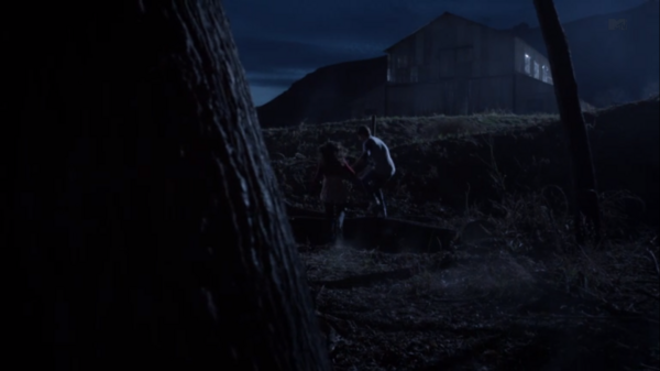 Teen Wolf Season 3 Episode 8 Visionary Young Derek and Paige run off to the distillery.png