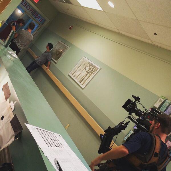 Teen Wolf Season 5 Behind the Scenes Shelley Hennig Tyler Posey hospital scene undated.jpg