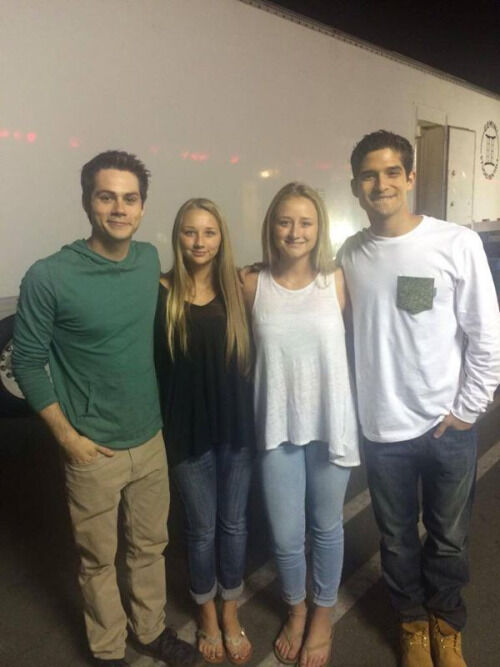 Teen Wolf Season 5 Behind the Scenes Dylan O'Brien Tyler Posey with fans Teen Wolf HQ undated.jpg