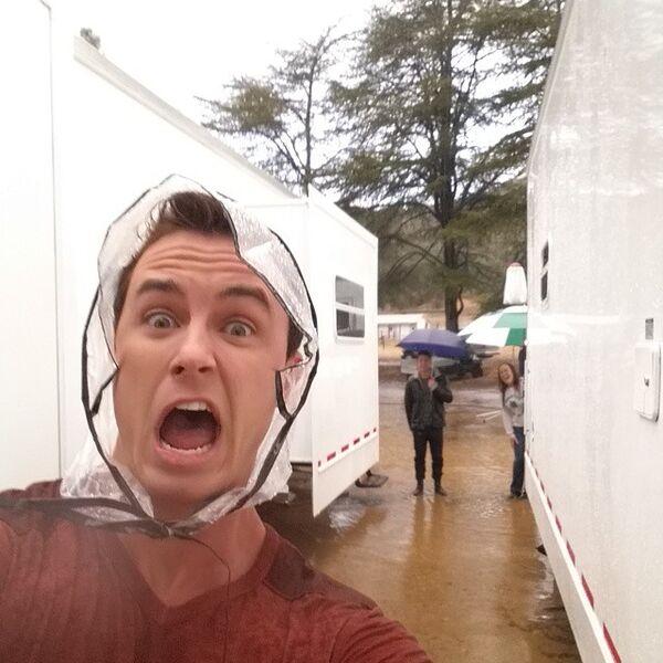 Teen Wolf Season 5 Behind the Scenes Ryan Kelley Rain bonnet.jpg