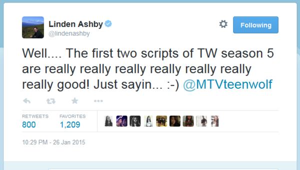 Teen Wolf News Linden Ashby first two episodes tweet.png