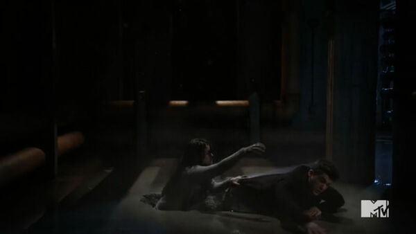Teen Wolf Season 5 Episode 20 Apotheosis Theo being dragged by his sister.jpg