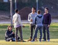 Teen Wolf Season 5 Behind the Scenes cast smoking Woodley Park 030315