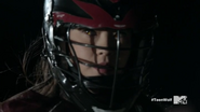 Teen Wolf Season 5 Episode 17 A Credible Threat Eye glow through helmet