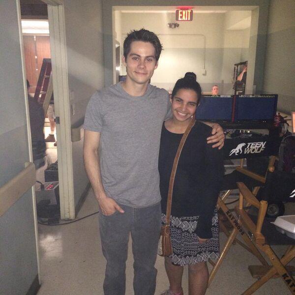 Teen Wolf Season 5 Behind the Scenes Dylan O'Brien with fan Teen Wolf HQ 040215.jpg