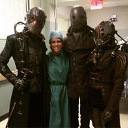 Teen Wolf Season 5 Behind the Scenes Melissa Ponzio with Dread Doctors undated