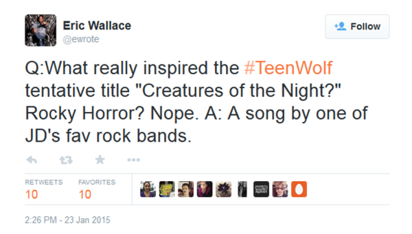 Teen Wolf News Eric Wallace creatures of the night tweet.png