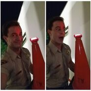 Teen Wolf Season 5 Behind the Scenes Ryan Kelley with flashing cone 031015