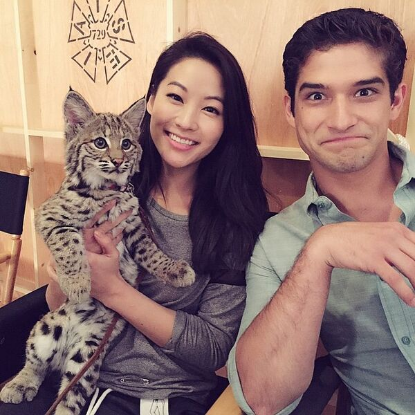 Teen Wolf Season 5 Behind the Scenes Arden Cho with bobcat and Tyler Posey 022315.jpg