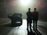 Teen Wolf Season 3 Behind the Scenes Stiles Jeep Woodley Park Night Shoot Silhouettes