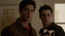 Teen Wolf Season 3 Episode 13 Anchors Tyler Posey Dylan O'brien Scott and Stiles with plastic horse