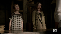 Teen Wolf Season 3 Episode 19 Letharia Vulpina Holland Roden Crystal Reed Lydia and Allison are skeptical