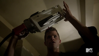 Teen Wolf Season 3 Episode 6 Motel California Charlie Carver Ethan with saw