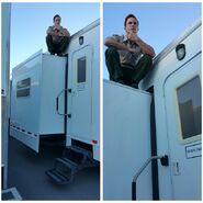 Teen Wolf Season 5 Behind the Scenes Ryan Kelley atop trailer Teen Wolf HQ 031315