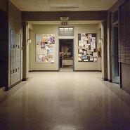 Teen Wolf Season 5 Behind the Scenes BHHS hallway with Megan Smith 081015