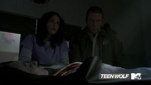Teen Wolf Season 4 Episode 3 Muted Melissa and Sheriff morgue