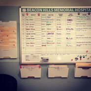 Teen Wolf Season 5 Behind the Scenes patient assignment board Beacon Hills Hospital 041315