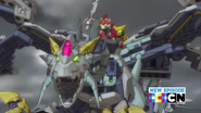 Bravenwolf and Lydendor riding on the Tenkai Dragon