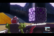 Beag looking at the Purple Dragon Cube