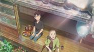 Hodaka sits with Fumi
