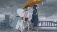 Nagi and Hodaka supporting the Sunshine Girl