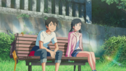 Hodaka and Hina watch Keisuke and the kids