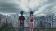 Hina takes Hodaka to the rooftop