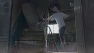 Hodaka climbs the abandoned building