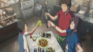 Natsumi, Keisuke and Hodaka make a toast